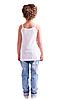 Майка дитяча для дівчаток біла річна трикотажна білизна бавовна вузька бретелька Україна, фото 4