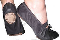 Балетки  для танцев кожа + ткань 17.5, Черный