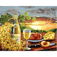 Картина по номерам. Натюрморт. Сыр и вино в коробке, 40*50 см, Brushme.