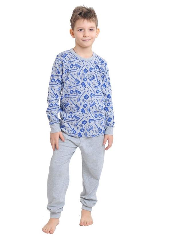 Серая пижама интерлок детская подросток  для девочек и мальчиков длинный рукав трикотаж хлопок Украина