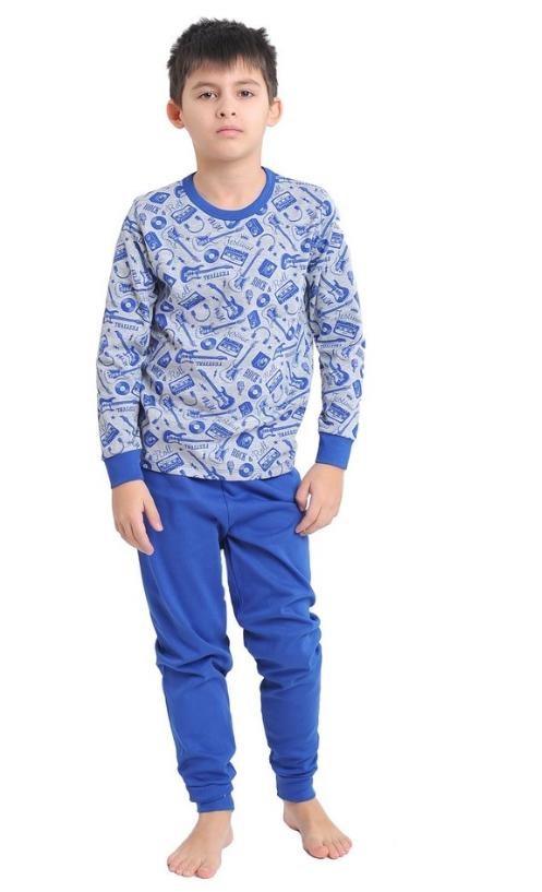 Синяя пижама интерлок детская подросток  для девочек и мальчиков длинный рукав трикотаж хлопок Украина