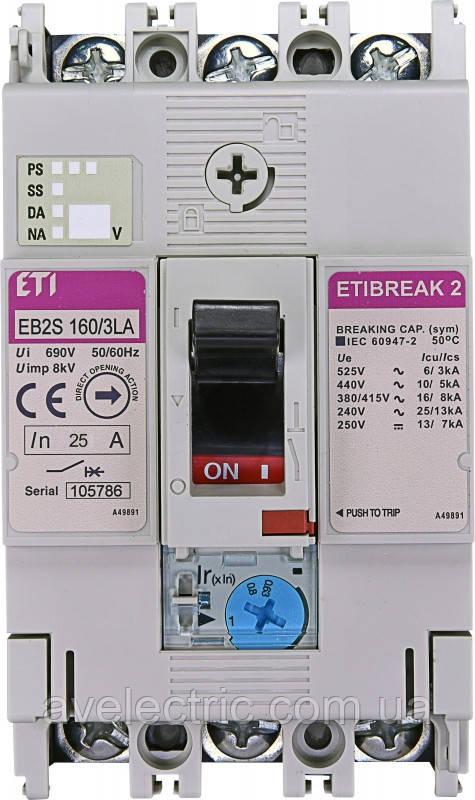 Авт. вимикач EB2S 160/3LA 80A (16kA, (0.63-1)In/фікс.) 3P
