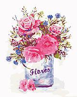 """Картина по номерам """"Розовый букет"""" 40*50 см, ArtStory"""