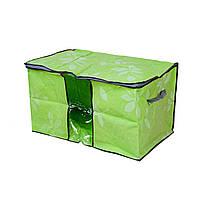 🔝 Органайзер для хранения белья (одежды) на одно отделение (салатовый с листочками) | мешок для вещей | 🎁%🚚