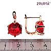 Серьги Zolota с красными фианитами (куб. цирконием), из медицинского золота, в позолоте, ЗЛ00557 (1), фото 2