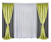 Комплект штор и тюли Декорин Блекаут Дабл Фулл Хаус  Темно-Серые с Лаймом и белым, фото 1