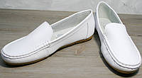 "КОЖА!Распродажа!Женские мокасины белые Smart casual AESD White - туфли женские на ""низком ходу"".р 36"