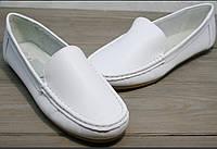 """Кожа!Распродажа!Женские мокасины белые Smart casual White - туфли женские на """"низком ходу"""". в наличии р.36"""