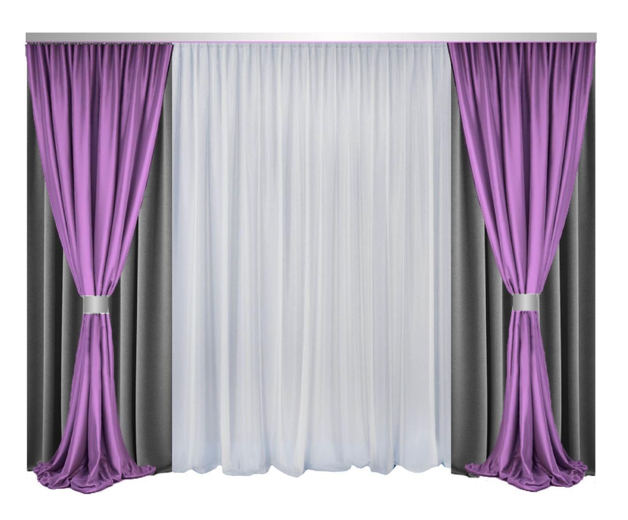 Комплект штор и тюли Декорин Блекаут Дабл Фулл Хаус  Темно-Серые с Фиолетовый и белым шторы 200x270 см 4 шт вуаль тюль 600х270 1 шт два подхвата