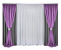 Комплект штор и тюли Декорин Блекаут Дабл Фулл Хаус  Темно-Серые с Фиолетовый и белым шторы 200x270 см 4 шт вуаль тюль 600х270 1 шт два подхвата, фото 1