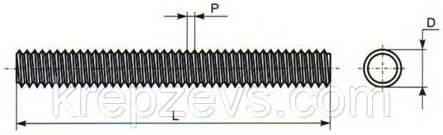 Чертеж шпильки DIN 975 М30