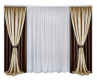 Комплект штор и тюли Декорин Блекаут Дабл Фулл Хаус Коричневый с Бежевым и белым