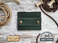 Кошелек картхолдер зелёный мини портмоне ручная работа