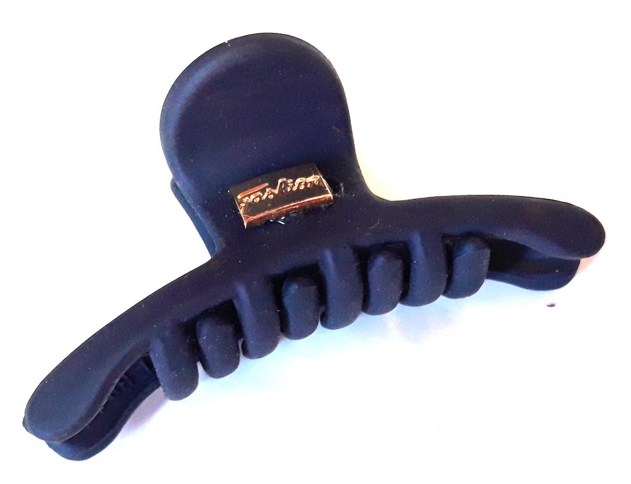 Краб для волос каучуковый плоский средний 6х2,5 см темно-синий