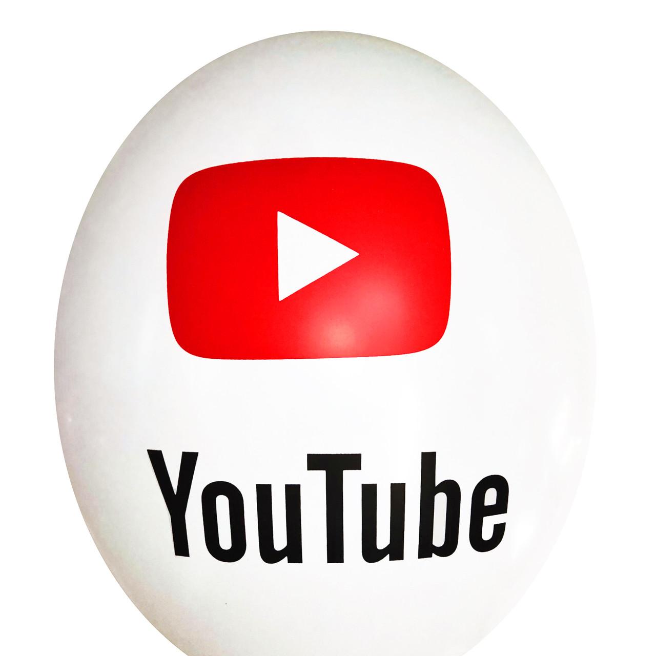 """2412  Шар 12"""" (30 см) YouTube кнопка на белом (Kalisan)"""