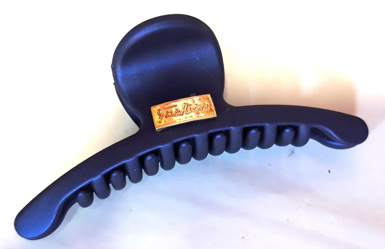 Краб для волос каучуковый плоский 9х3 см темно-синий