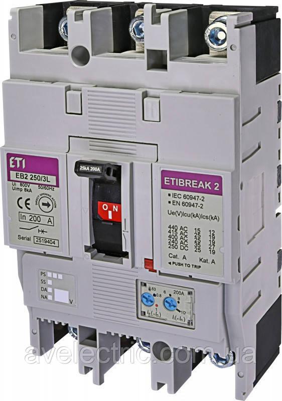 Авт. вимикач EB2 250/3S 160A (36kA, (0.63-1)In/(6-13)In) 3P ETI, 4671081