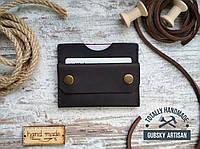 Кошелек минималист коричневый с отделом для карт и монетницей, мини портмоне натуральная кожа, фото 1