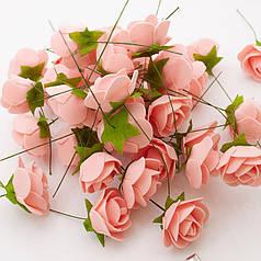 Роза (цветок) из латекса персик 3,5 см