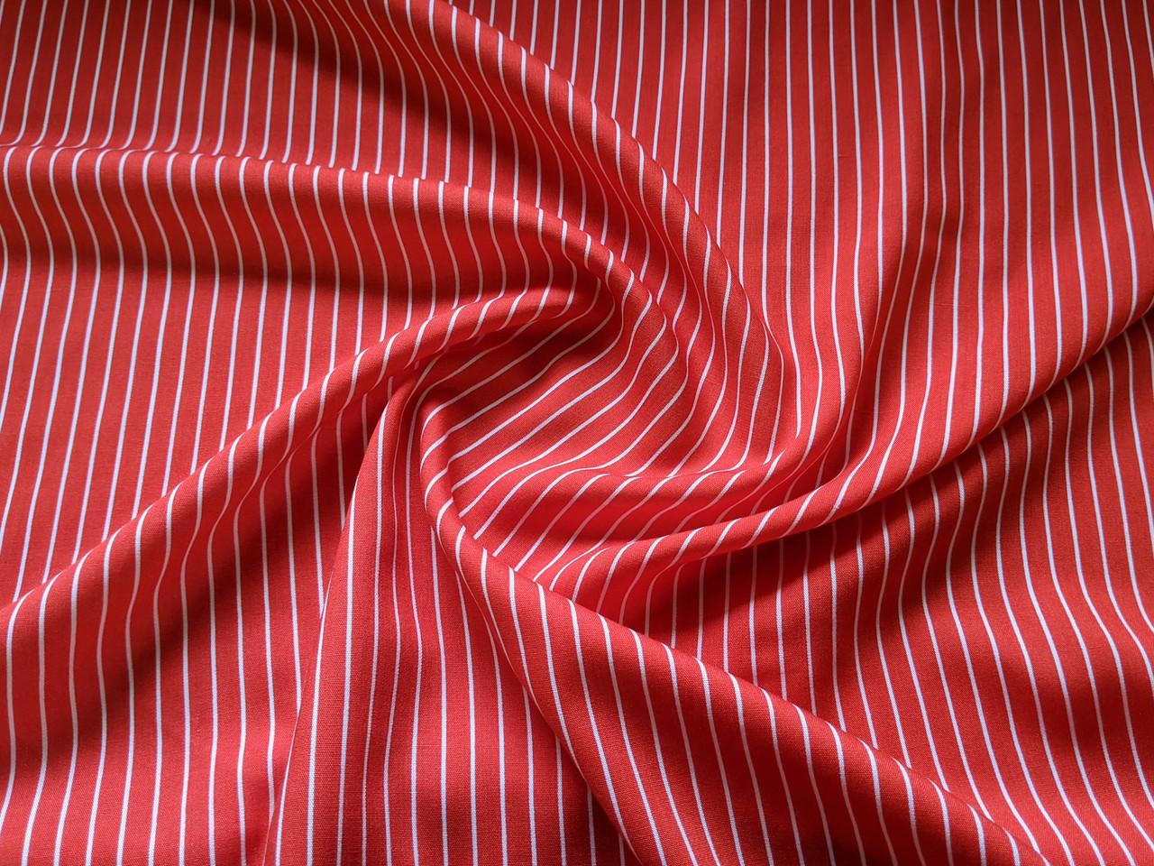 Штапель полоска 7 мм, красный