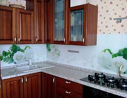 Фартук для кухни из стекла с фотопечатью белых роз - изготовление в Днепре 1