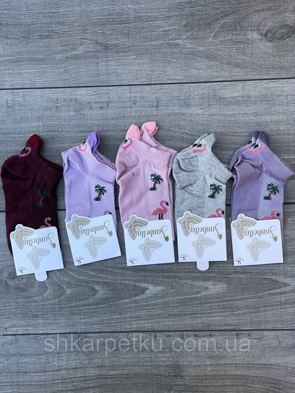 Шкарпетки в сітку жіночі котонові Sanbella з фламінго і пальмами 36-40 12 шт в уп мікс 5 кольорів