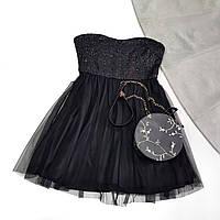 Черное нарядное платье с фатиновым низом