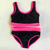 Костюм для Pole Dance детский (топ+шортики) черно-розовый