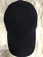Бейсболка мужская утеплённая из плотной чёрной котона-джинсы 56-57