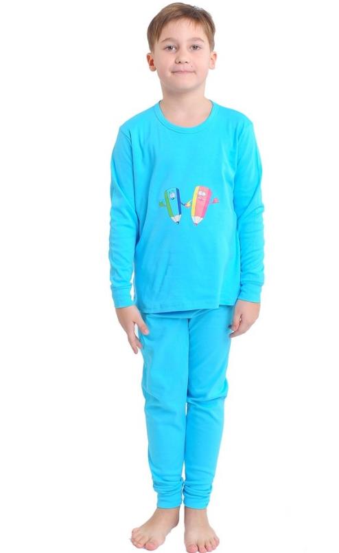 Піжама інтерлок дитяча дитина для дівчаток і хлопчиків блакитна довгий рукав трикотаж бавовна 100% Україна