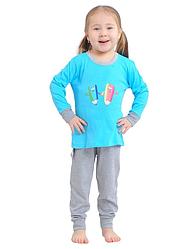 Пижама интерлок детская ребенок для девочек и мальчиков голубая длинный рукав трикотаж хлопок 100%  Украина