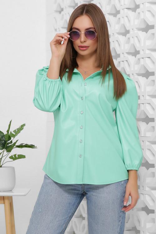 Кожаная женская блузка мятного цвета