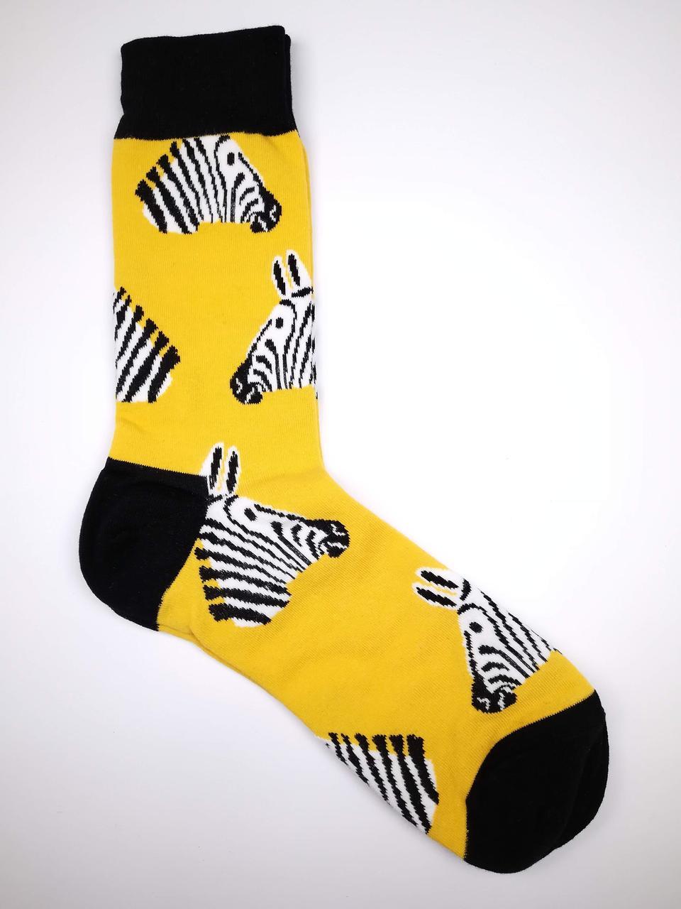 Чоловічі шкарпетки з прикольним принтом Зебри