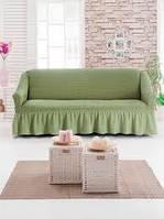 АКЦИЯ!!!Чехол натяжной с рюшем на диван цвет оливковый (Турция)