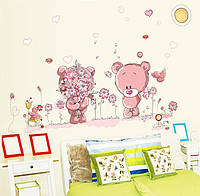 """Интерьерная наклейка в детскую """"Мишки пара """" цвет розовый"""