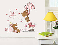 """Интерьерная наклейка в детскую """"Мишки baby"""" цвет розовый"""
