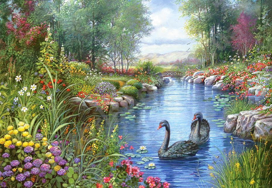 """Пазлы Castorland 1500 """"Черные лебеди"""" 68*47"""