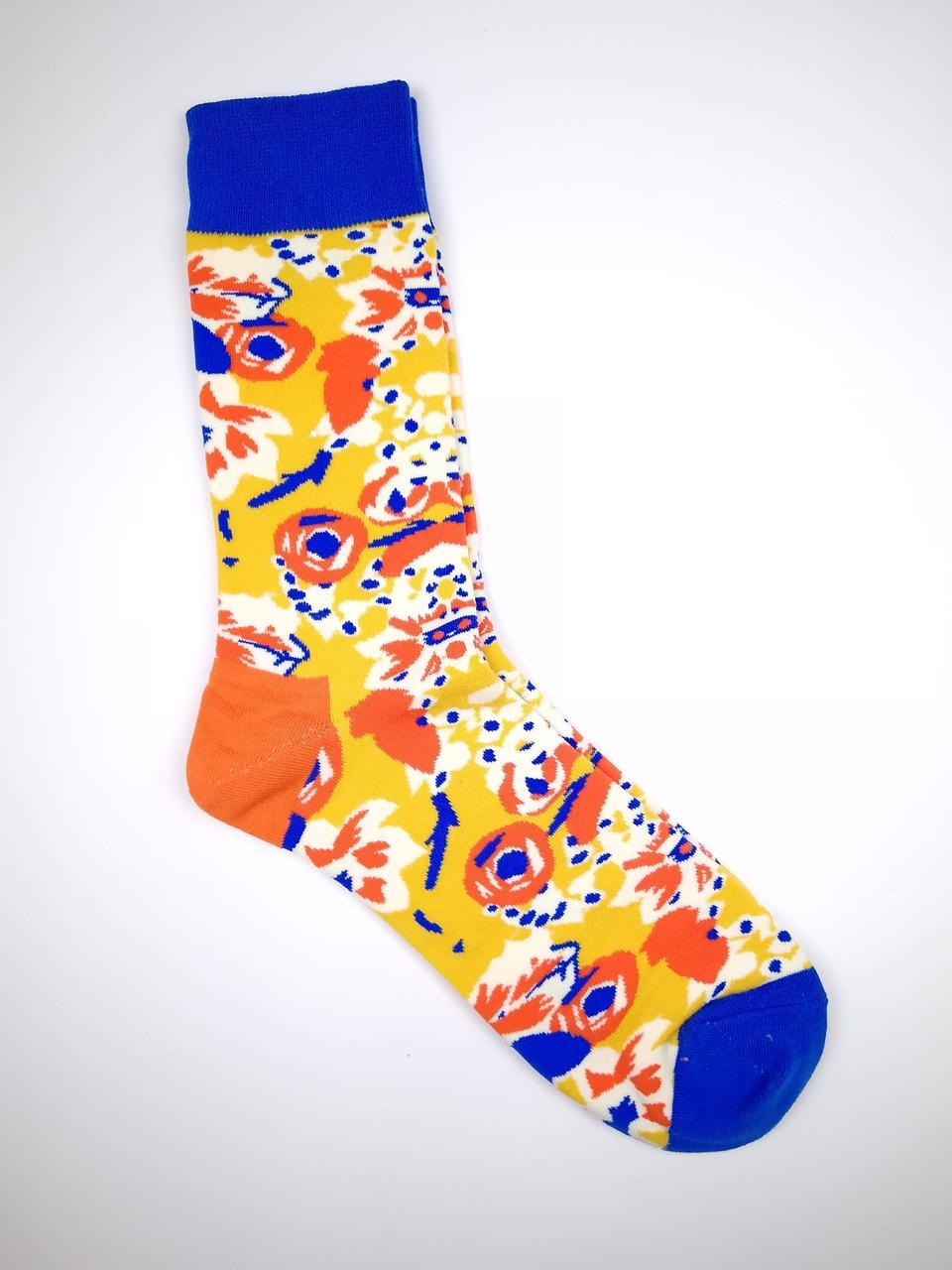 Женские носки из высококачественного хлопка с оригинальным цветочным принтом