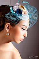 """Свадебная вуалетка с цветами из ткани и бисера """"Райская птица"""""""