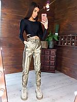 Стильный костюм женский из эко-кожи топ и джоггеры  золото