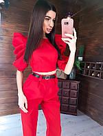 Стильный красный костюм женский топ и брюки