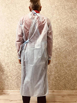 Сертифицированный защитный халат на завязках защитный спандбонд размер универсал, фото 2