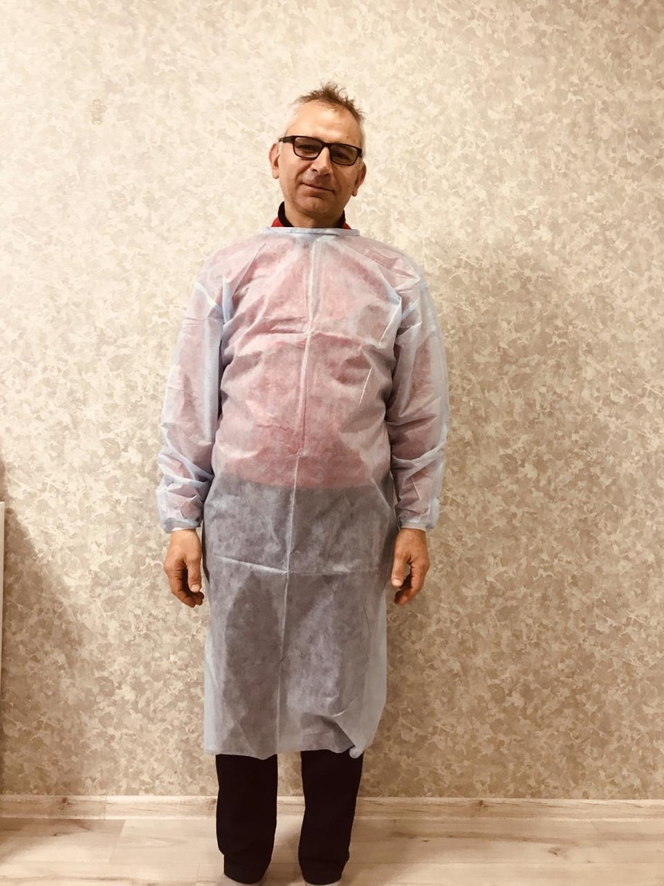 Сертифицированный защитный халат на завязках защитный спандбонд размер универсал