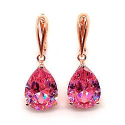 Серьги SONATA из медицинского золота, розовые фианиты, позолота PO, 22981             (1)