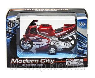 """Мотоцикл інерційний """"Modern City"""" (червоний, білий)"""