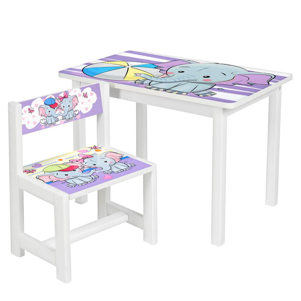 Детский стол со стульчиком Bambi  BSM1-05 Слоник белый