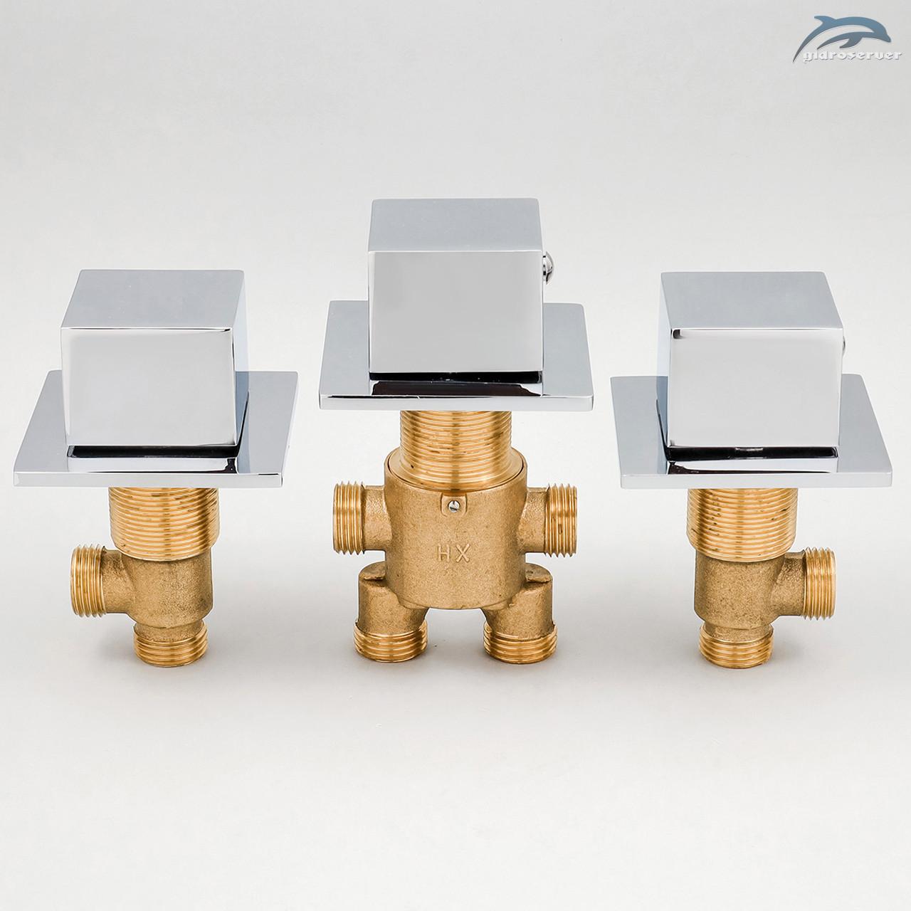 Комплект кранов и переключателя на 2 положения для гидромассажной ванны, джакузи J-7000KV.