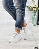 Стильные белые кроссовки женские кожаные, фото 3