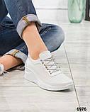 Стильные белые кроссовки женские кожаные, фото 2