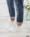 Стильные белые кроссовки женские кожаные, фото 4